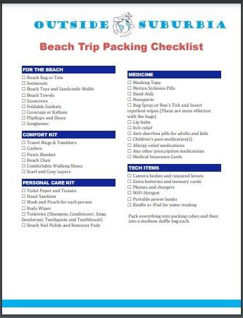 Printable Beach Trip packing list   Outside Suburbia