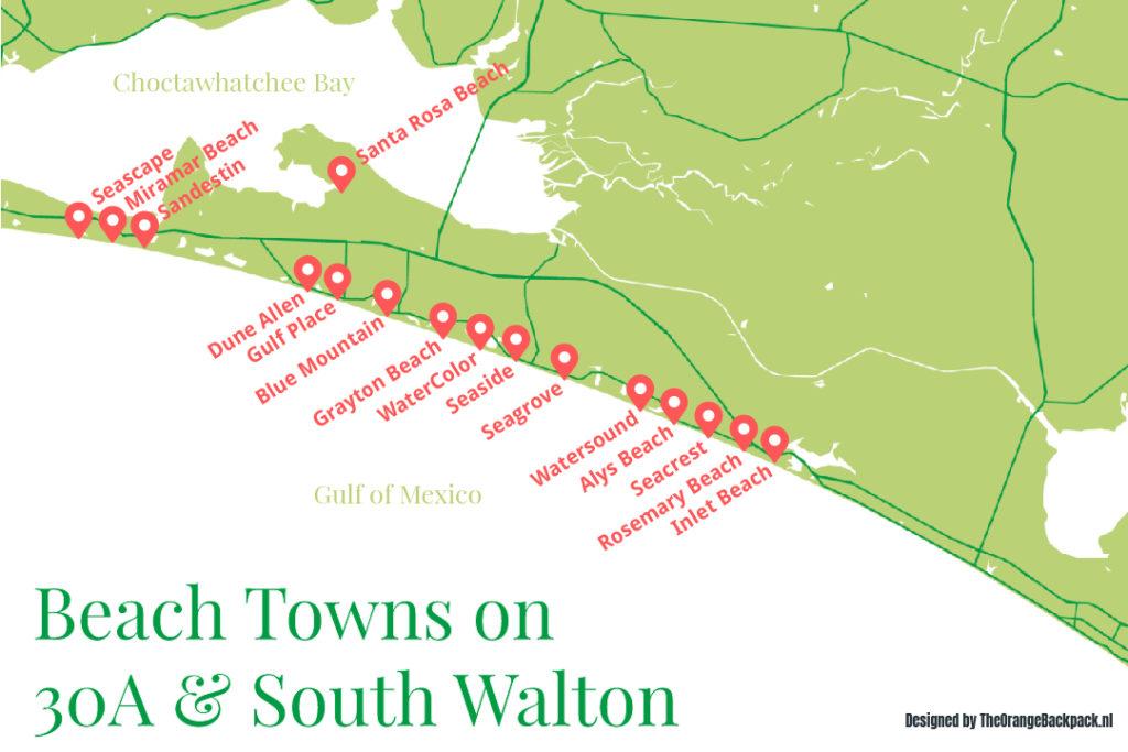 Map of 30A, South Walton, Florida - Outside Suburbia