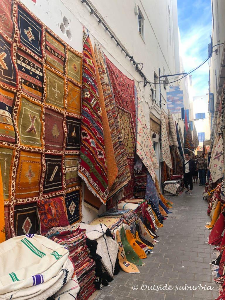 Magic carpets and rugs at the old Medina of Essaouria, Morocco  | Outside Suburbia