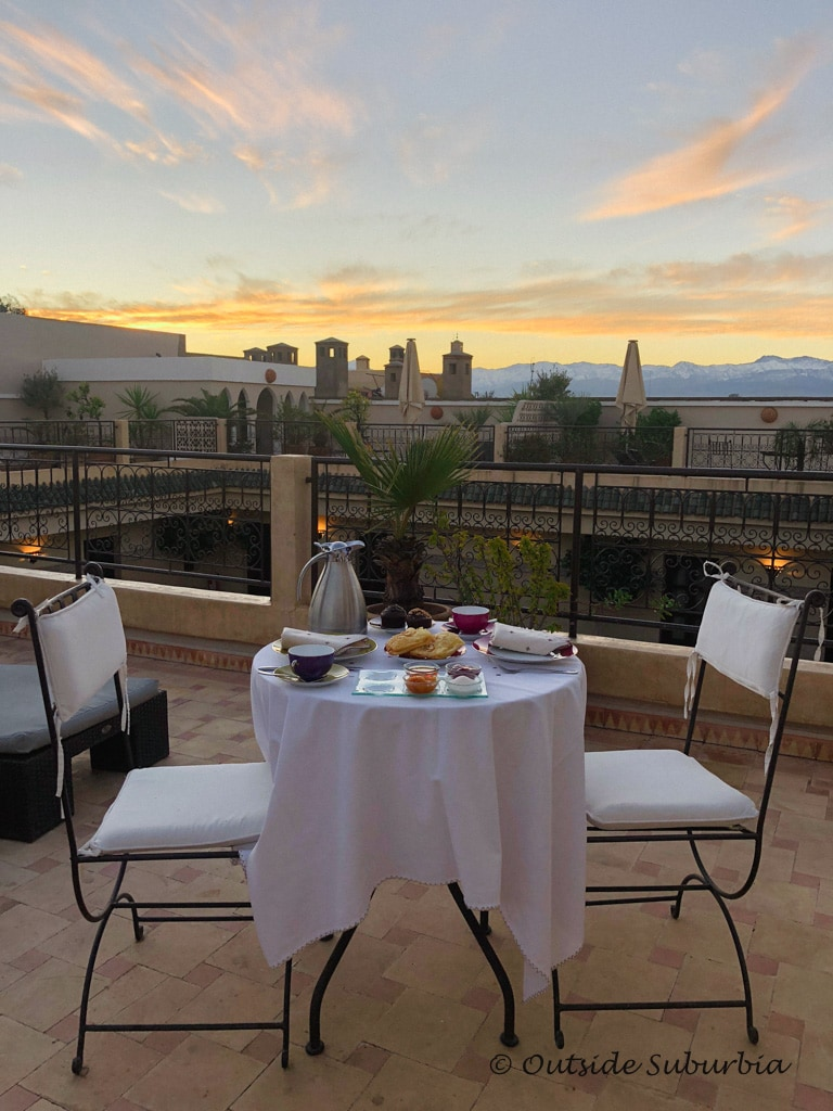 Our Breakfast setup at the rooftop terrace one morning - Where to stay in Marrakech: Villa des Orangers