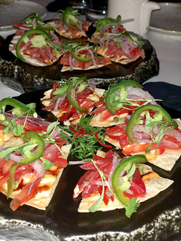Ahi Tuna Pizza and a vegetarian version at KAI, Plano