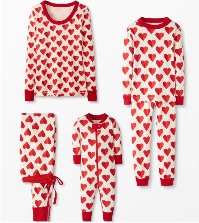 Matching Heart PJs for Valentines day | Outside Suburbia
