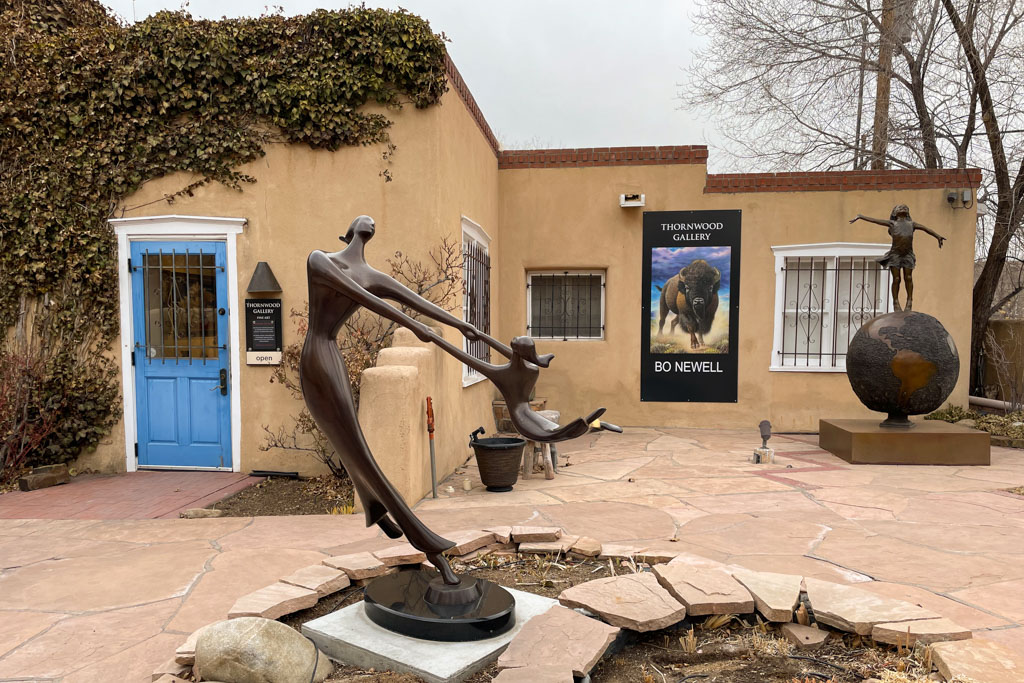 Sculptures at Thornwood Gallery, Canyon Road, Santa Fe
