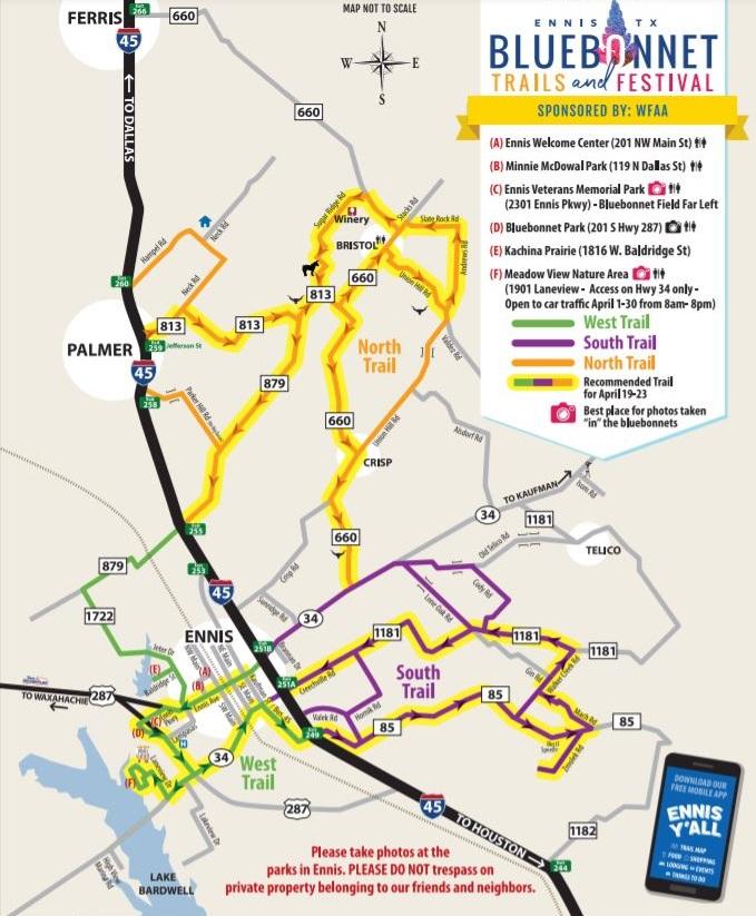 Ennis Bluebonnet Trail Map