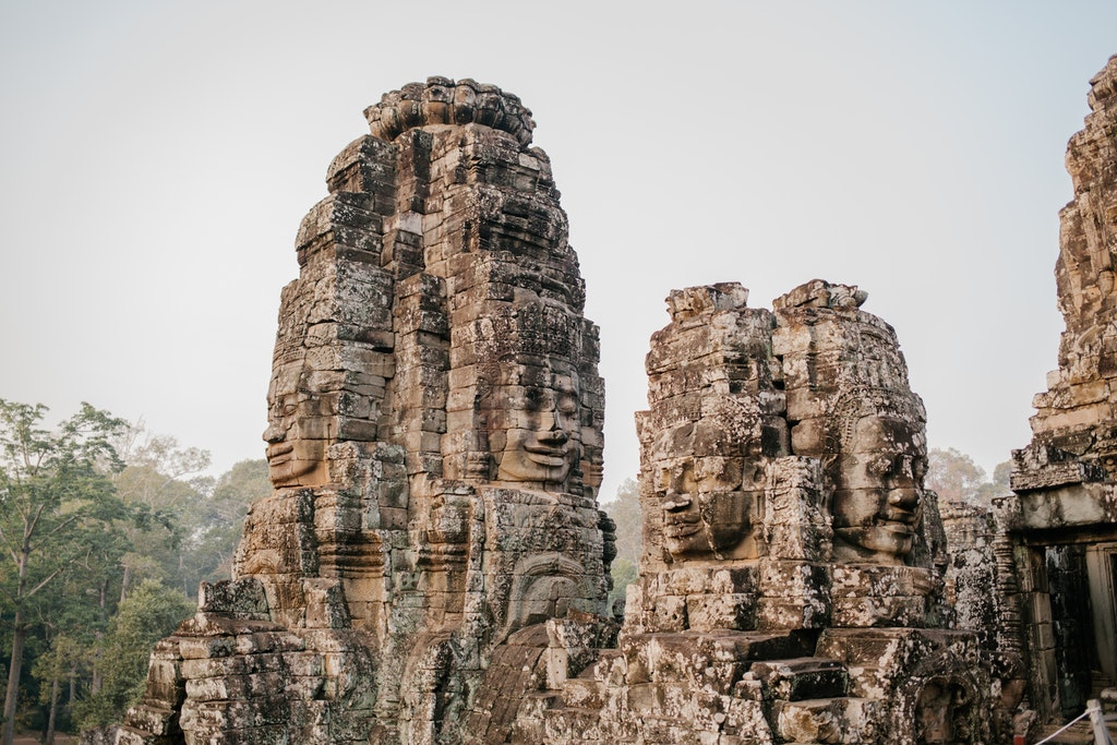 The serene and smiling stone faces of Bayon, Cambodia