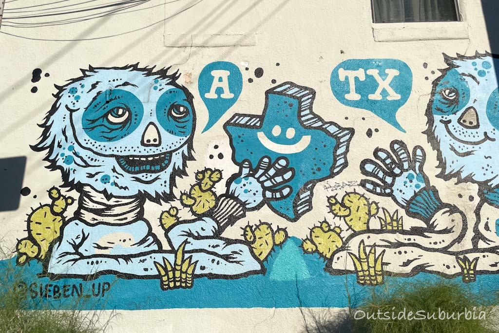 Fun murals in Austin: Blue Creatures   OutsideSuburbia